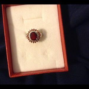 Jewelry - Genuine Garnet & Sterling Silver Ladies Ring